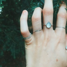 A shop favorite is back! The moonstone teardrop ring. A teardrop moonstone, handset on a sterling silver ring band.